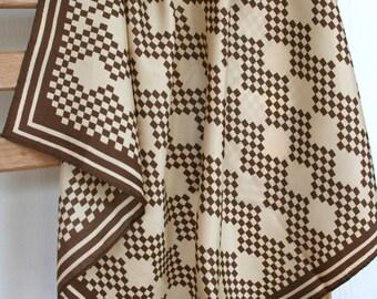 Preppy Vera scarf in brown and tan. Geometric, diamonds, chevron, zigzag, conservative.
