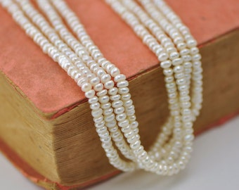 White Button Potato Pearl 3-4mm, Seed Freshwater Pearl -(PL01-8)/ Full strand