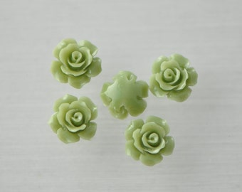 Coral Flower 13mm Cabochon beads Matcha Green -(SF19-1)/ 10pcs