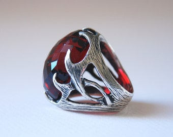 X Large Red Ruby Gemstone Sterling Silver Oxsidized Style Handmade Unisex Ring X Large   Request Custom Order