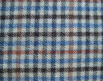 Checked Wool Fabric Remnant Green Brown - 3/4 Yard