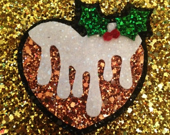 Glitter Heart Shaped Christmas Pudding Hair Clip