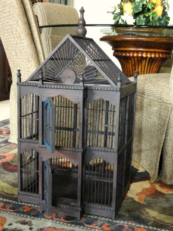 Vintage Victorian Style Wood Bird Cage Brown With Blue Doors