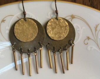 mixed metal dangle earrings-handcrafted dangle earrings