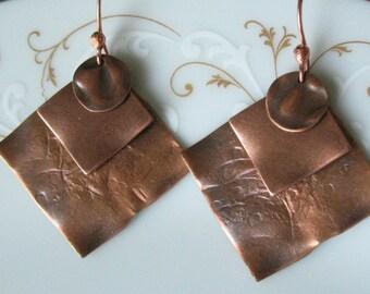 copper dangle earrings-handcrafted dangle earrings