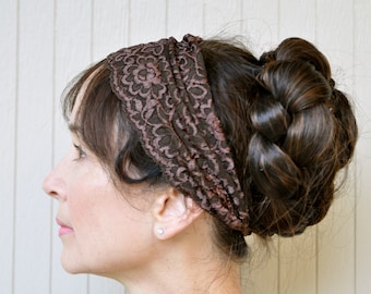 Stretch lace headband in many colors and varied widths. Boho fashion accessory.