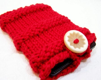 Red Chunky Knit IPad Mini Sleeve, Knit Kindle Fire Case, Knit Nook E Reader Case, Knit Ereader Sleeve, Knit Reader Case, Knit Tablet Case