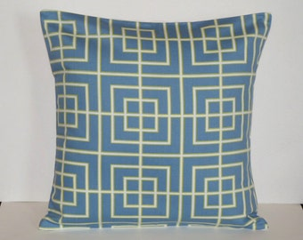 Throw Pillow Cover Decorative Pillow Cover Accent Pillow Cushion Covers Green White Blue Geometric 16 x 16