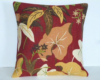 Throw Pillow Decorative Pillow Accent Pillow Cushion Covers Red Brown Orange Yellow Cream Floral Leaves 16 x 16