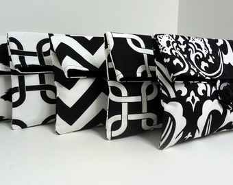 5 Bridesmaid Clutches - Black and White Wedding Clutches - Bridesmaid Gifts
