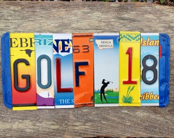 GOLF 18 recycled upcycled license plate art tomboyART tomboy art 19th hole clubs country club masters
