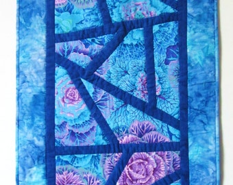 Quilted Table Runner Blue and Purple Mosaic of Cabbage Roses