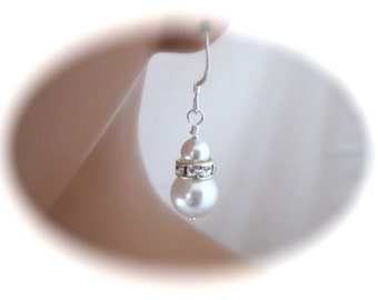 Wedding Jewelry Pearl Bridal Earrings Swarovski Pearl and Rhinestone Earrings