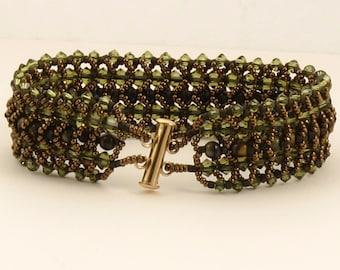 Khaki and Tiger Eye Woven Bracelet - 7 inches