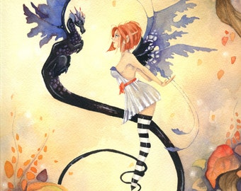 Fairy Art Print - Autumn Fantasy - fall. october. autumn foliage. whimsical. dragon. ebony. purple. colorful.