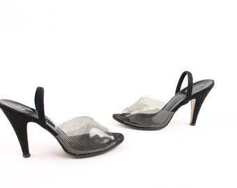 Vintage 70s 80s Pumps Heels Clear Pin Striped Black Nubuck Leather  6.5 Strappy Womens Shoes