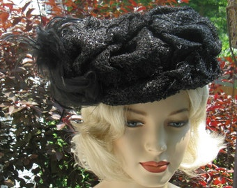 Vintage Edwardian Black Straw Toque Hat with Feathers