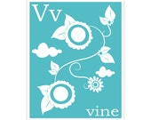 Children's Wall Art / Nursery Decor V is for Wine 8x10 inch alphabet print by Finny and Zook