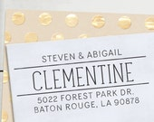 Self Inking Address Stamp - handwriting style - Personalized Stamp - Clementine