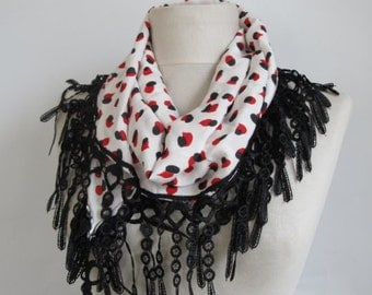 chiffon scarves - red scarf - black chiffon scarf - lace scarves - red black scarf - women accessory