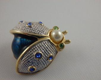 Vintage Insect Brooch Roman Two-Tone Blue Ladybug Beetle Bug Enamel Rhinestones Gold Silver