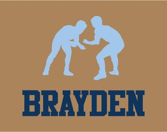 Wrestling Wall Decal Personalized Name Vinyl Wall Art
