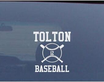 Softball Car Decal Custom Name Number