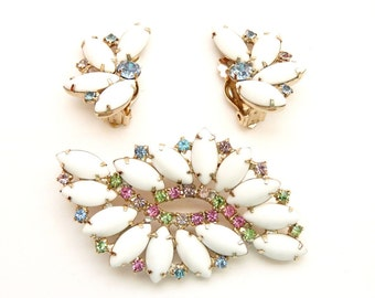 Vintage White Milk Stone Pin and Earring Set with Pastel Rainbow Rhinestones in a Gold Tone Setting