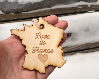 ANY Country Ornament France Ornament Lovers Valentines Day Gift Christmas Tree Ornament Wooden Tree Ornament Country Tag