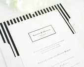 Striped Wedding Invitation - Preppy, Stripes, White, Black, Classic - Boxed Monogram Wedding Invitation  - Deposit to Get Started