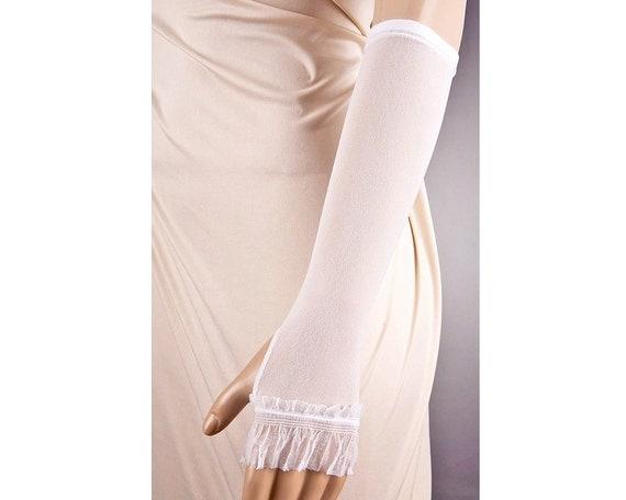 WHITE Fingerless GLOVES, Long Wedding Gloves,White Wedding Gloves,Lace Wedding Gloves,Sheer Wedding Gloves,Fingerless Wedding Gloves