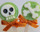 Spooky Skull and Crossbones Glycerin Lolly Soap for Halloween Party Favors or Birthday Gifts Green