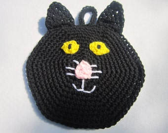 Black Cat Pot Holder for Halloween Hot Pad Trivet Crochet