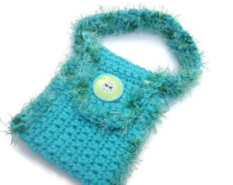 Crocheted Purse, Little Girl Turquoise Purse with Green Fur, Small Prom Bag