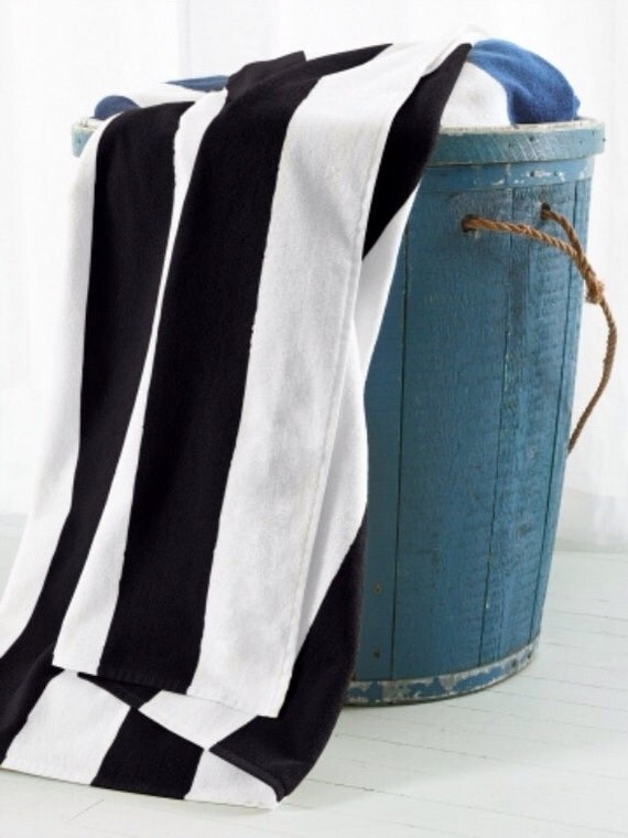 Items similar to Black and white cabana stripe beach towels on Etsy