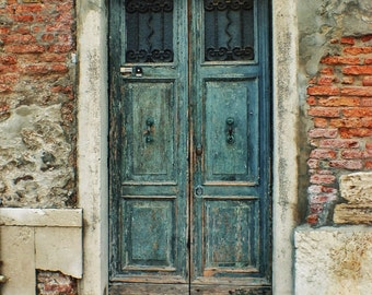 Fine Art photograph weathered old door, Venice, Italy green, peeling paint, vintage, brick, 8x10