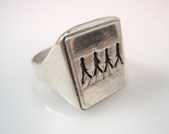 The Beatles Abbey Road John Lennon paul McCartney Ring Solid Sterling Silver 925