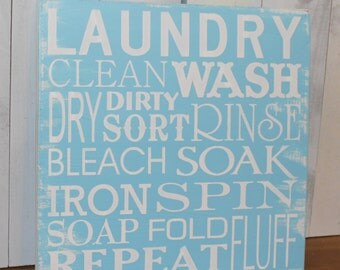 Laundry Subway Sign/Laundry Room Sign/Clean/Wash/Dry/Iron/Spin/Bleach/White/Light Blue