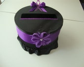 Small Black and Purple Wedding Card Box