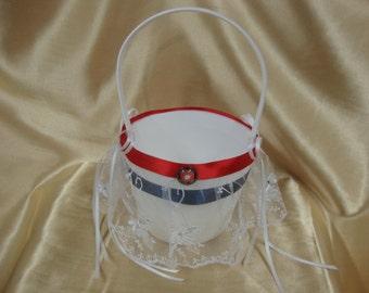 White Flower Girl Basket with U.S. Marine Corp Theme