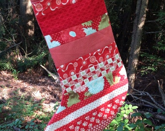 SALE - Scrappy Red Christmas Stocking -- quilted - Bliss, Ruby, Vintage Modern, Moda
