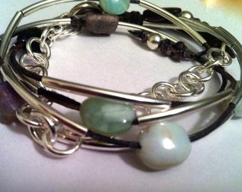 Peruvian Opal Leather Wrap Bracelet in Sterling Silver, Three Wrap Bracelet