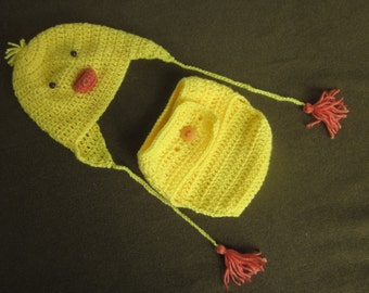 crochet baby hat & diaper cover, chick chick-ling set