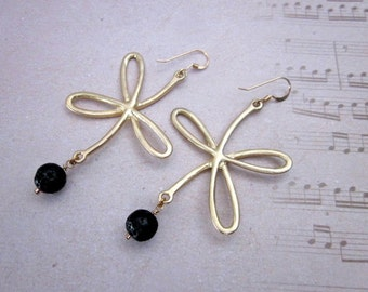 Black Bead Dangles -- Bow Earrings -- Gold & Black Bead Earrings -- Lava Earrings -- Gold Bow Earrings -- Lava Drops -- Lava Stone Earrings