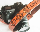 Custom Leather Camera Strap - Live in the Sunshine - You pick colors -  sunflowers, sun, swirls and paisley - Made to Order by Mesa Dreams