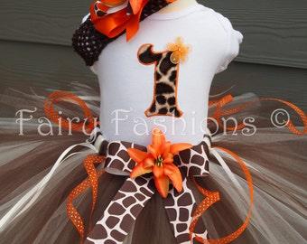 Custom Tutus.. GIGI GIRAFFE, any number 3,6,9,12,18,24 months, 2T,3T,4T,5T,6  zoo, Disney Animal Kingdom, costume, birthday