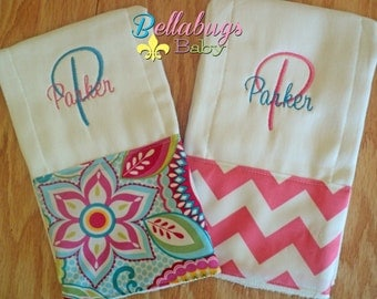 Set of 2 Flowers and Pink Chevron Personalized Monogrammed Baby Burp Cloth...Perfect for a Baby