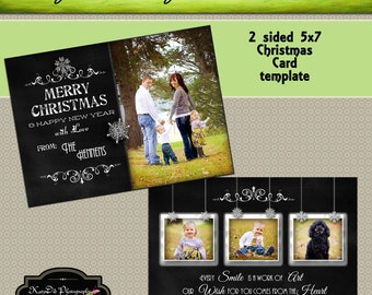 INSTANT DOWNLOAD Chalkboard Work of Art Christmas card template  5x7 psd file , customized , personalized