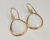 White Glass and Gold Dangle Earrings-Free US Shipping