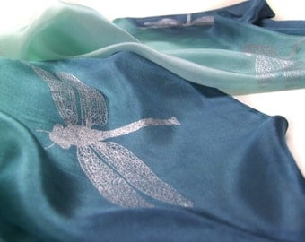 Silk Scarf in Deep Blue and Green Hand Printed with Silver Dragonflies